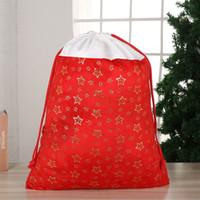 sacs cadeaux pour les stars achat en gros de-Nouveau Noël Père Noël Sacs Étoile de flocon de neige de Bell estampillage chaud Port de Noël Drawstring Poutre Sac cadeau Décoration HHA804