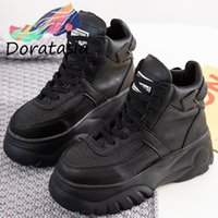Wholesale white lace up booties for sale - Group buy DORATASIA Hot Sale Fake Leather High Platform Boots Women lace up Booties Ladies Fashion High Wedges Shoes Woman Sneakers