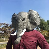 traje de elefante adulto completo venda por atacado-New completa Rosto Cosplay Halloween látex máscara máscaras Elephant Head animal adulto Fancy Dress Partido Cosplay Teatro de brinquedo