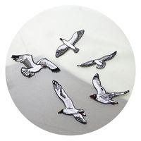 moscas de cola al por mayor-20191003 Blanca vuelo de la gaviota de tela con pegamento trasero pequeño bricolaje