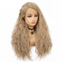 longo luz marrom perucas venda por atacado-28 polegadas Longa Onda de Água Peruca Sintética Marrom Luz Mista Perucas de Cabelo Loiro Peruca Diária para As Mulheres