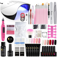 Wholesale nail art kit for sale - Group buy 36W UV LED Nail Lamp Dryer Poly Gel Nail Kits Electric Drill Manicure Set Gel Polish Art Tools