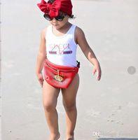 ropa de gama alta al por mayor-Mejor venta de gama alta de una sola pieza de bebés monos trajes de baño impresión carta traje de baño niños ropa de playa 2T-8T