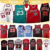 ingrosso jersey caldo-23 MJ Jersey Scottie Pippen 33 Dennis Rodman 91 maglie vendita retrò degli uomini del pullover di pallacanestro caldi