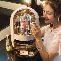organizador de maquillaje acrílico negro al por mayor-Transparente organizador cosmético de maquillaje creativo Caja de almacenamiento portátil de escritorio organizador del cajón de almacenamiento compartimientos a prueba de agua caja de belleza
