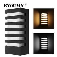 luminárias de parede exterior ao ar livre venda por atacado-Eyoumy levou luz de parede Sunsbell moderno alumínio COB 15W luz IP65 impermeável arandela - Outdoor fixação de parede (15W-branco quente) DHL