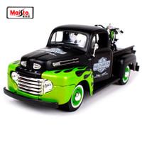 ücretsiz oyuncak diecast otomobiller toptan satış-Maisto 1:24 Ford 1948 Ford F-1 Pikap Ile 1948 Harley Fl Panhead Motosiklet Bisiklet Diecast Model Araba Oyuncak Yeni Box Ücretsiz Kargo J190525