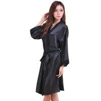 schwarzes chiffon- nachthemd groihandel-Großhandelsschwarz-heißer Verkaufs-Sommer-Silk Chiffon- Robe Kimono-Badekleid-Aufenthaltsraum-Nachthemd der neuen Art-Frauen reizvolle Nachtwäsche eine Größe ZS037