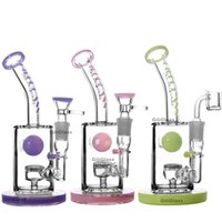 Wholesale toro water bongs resale online - Toro Glass American colors dab rig Mini bong glass water pipe purple honeycomb perc bubbler water pipes heady bongs bowl quartz nail
