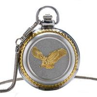 ingrosso vigilanza del serpente dell'argento del quarzo-Di alta qualità Snake Bone Chain Pocket Watch di lusso 3D Golden Eagle modello di copertura freddo argento Fob orologio al quarzo Relojes de bolsillo