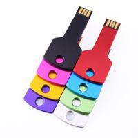 Wholesale usb key logo resale online - Free Customize Logo Engraving MB MB MB GB GB GB GB GB Metal Key USB Flash Drive Memory Flash Pendrive Stick