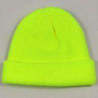 beanie verde laranja venda por atacado-Cap Curto Plain Cuffed Hat Gorros Mulheres Homens Winter Knit Crânio Hip Hop Streetwear Neon Amarelo Neon Laranja Verde Brilhante