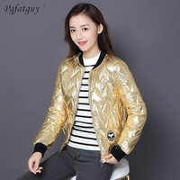 Wholesale thick metal collar for sale - Group buy New Winter Warm Jacket Fashion Metal Gold Silver Down Jackets Cotton Coats Women Parkas Stand Collar Thick Outerwear Parkas
