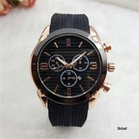 relojes automáticos negro big bang al por mayor-Relogio 44mm marca de fábrica superior reloj de pulsera de alta calidad para hombre Relojes de diseño hombres reloj de goma Fecha automática día negro big bang reloj de cuarzo