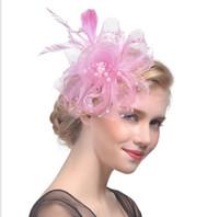 головные уборы для волос оптовых-Украшение для волос невесты Сетчатый головной убор Little Top Hat Racing Festival Ма Пряжа Головной убор Украшение для волос