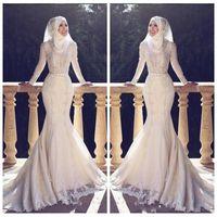 vestido muçulmano fishtail venda por atacado-Muçulmano Slim Fishtail Estilo Árabe Da Sereia Vestidos de Casamento Mangas Compridas Lace Applique O Pescoço Hijab Sereia Longos Vestidos de Noiva