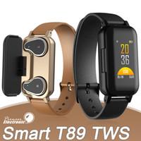 bluetooth bilekliği toptan satış-T89 Akıllı Bilezik TWS Bluetooth Kulaklık Spor izci Nabız Akıllı Bileklik Spor İzle paketi ile Android ve iOS için