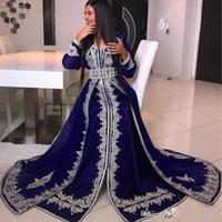 tejido de encaje de manga larga al por mayor-Árabe con cuello en V cristalina del grano de encaje apliques musulmana de manga larga vestidos de noche abaya caftán Glamorous piso de longitud satinado vestido de fiesta de Dubai