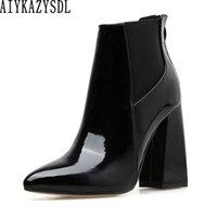 bloco de calcanhar sapatos de couro venda por atacado-AIYKAZYSDL Mulheres Faux Patent Leather Ankle Boots Inglaterra Estilo Grosso Chunky Bloco Sapatos de Salto Alto OL Vestido Sapatos Plus Size 40-42