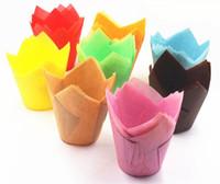 muffin cupcake cups großhandel-Papierbackenschalen Cupcake Wrapper für Muffinschalen Bunte Anti-Öl Flamme Form Backen Cupcake Papier Kuchenschale