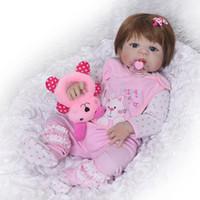 Wholesale alive dolls resale online - Lifelike Full Vinyl body Silicone Reborn Baby Menina Alive Newborn Baby Dolls Truly Kids Playmates with a Stuffed Plush Bear