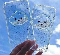 iphone cloud toptan satış-Sıvı Kalp Glitter Toz Gülümseme Yüz Bulutlar Telefon Kılıfları iPhone 6 7 8 Dondurma Yumuşak TPU Dinamik Boncuk Arka Kapak
