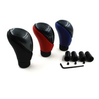 Wholesale leather gear shifts resale online - Universal Black Leather Racing Sport Manual Gear Shift Knob Head Carbon Gear Stick Shift Knob Cover Handle Shifter Lever