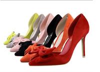 7975c096d0 Atacado moda princesa sapatos sexy fino calcanhar apontou único sapatos 6  cores cinza preto rosa laranja amarelo tamanho 34-39 bem-vindo para comprar