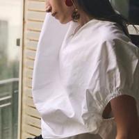 drapejar a camisa venda por atacado-2019 Simples Sólida Casual Mulheres Blusa Do Vintage Com Decote Em V Elegante Top Manga Batwing Drapeado Pullover Camisa Forma Solta
