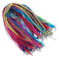 ingrosso fanno collane di stringhe-100 pz 18 Colori Organza Nastro Collana Cord Organza Stringa di Nastro con Catenaccio Per Gioielli FAI DA TE Fare Regolabile 17-19 Pollici