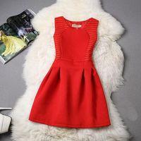 kırmızı şapka giysileri toptan satış-Kadınlar dizayn edilmiş elbiseler Kadın Tasarımcı Giyim Yaz Kadın Elbise 2019 Vintage Hepburn Kırmızı Bir Hat Zarif Kolsuz 4XL şifon 5XL
