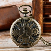 Wholesale quartz watches arabic numerals for sale - Group buy Bronze Hollow Gearwheel Design Quartz Pocket Watch Unisex Fashion Arabic Numerals Men Watches Necklace Pendant Chain Clock Gifts