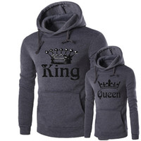 sudadera reina al por mayor-Mujeres Hombres Queen King Sudaderas con capucha Sudaderas amantes de ajuste de la aptitud casual gris con capucha