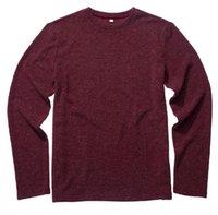 blusas de cor clara venda por atacado-Vermelho 2018 outono nova moda masculina de malha circular pescoço pullover solto casual cor lisa camisola homens