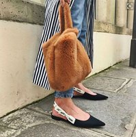 ingrosso borse di pelliccia del faux rosso-Lady Winter Faux Pochette in Pelliccia Moda Nero Vino Rosso Borsa donna Puffy Vest Borsa Bolsa Femme Mink Fur Borse Donna Tote Bag D19011204