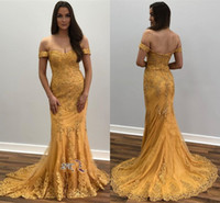 Wholesale short celebrities for sale - Formal Gold Evening Dresses Mermaid Off Shoulder Lace Major Beaded Prom Gowns Celebrity Party Formal Wear