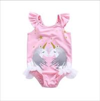 banyo bebeleri toptan satış-Kap ile 2019 çocuk mayo Karikatürler Bebek Unicorn Tek Parça toddler plaj bikini mayo Tulumlar Romper çocuk parça yüzmeye uygun