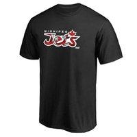 büyük boy toptan satış-2019 erkek Winnipeg Jets Fanatics Markalı Büyük Tall Kanada Dalga T-Shirt Siyah Birincil Logo açık Kısa kollu Üniforma Gömlek Buz Hokeyi