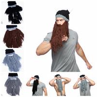 erkekler için sakallı şapkalar toptan satış-4 renk erkek şapka Viking Uzun Sakal Boynuz Şapka Vagabond Barbar Çılgın Kayak Cap Beanie Komik Uzun Sakal Viking Şapka LJJK1140