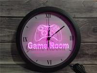 ledli aydınlatma konsolu toptan satış-0K984 Oyun Odası Konsol APP RGB 5050 LED Neon Işık İşaretler Duvar Saati