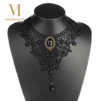 ingrosso il pizzo nero gotico borda il choker-1PC Women Black Lace Beads Choker Victorian Steampunk Style Collana con collare gotico regalo