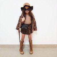 jaqueta de leopardo menina venda por atacado-Jacket crianças Autumn casaco de leopardo da menina da criança Crianças PU roupas Meninos Meninas Curta Casacos Zipper Coats Outwear