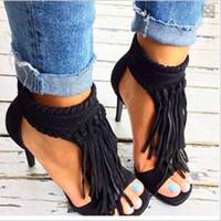 sandalias cubiertas dedos al por mayor-Sexy señoras del verano de la franja pedante cubierto sandalia Bottines estilete de los tacones altos de la borla de las botas del tobillo del dedo del pie del pío postales Vestido botines zapatos