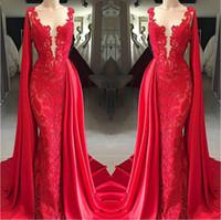 envoltório formal vermelho venda por atacado-2019 New Red Lace Vestidos de Noite Sheer Neck com Envoltório Formal Vestidos de Festa Árabe Pageant Red Carpet Prom Vestidos Vedidos