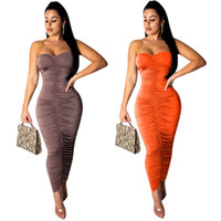 ingrosso ghiacciaia-Sexy Fold Dress Wrapped Chest Long Dress Summer Ice Silk Pencil Dress 2 Colore S-XL