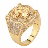 gold gefülltes pferd großhandel-Ostern Geschenk 18 Karat Gelbgold gefüllt Männer Modeschmuck Hochzeit Pferd Gold Ring Größe 8-15
