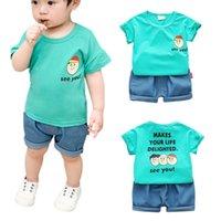 модная одежда оптовых-Fashion Summer Baby Boys Clothes Cotton Short Sleeve Cartoon Letter Print Tops T-shirt+Shorts Casual Children\'S Clothing Sets