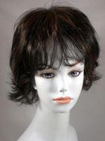 Wholesale brown blond ombre wigs resale online - Wig Heat Ok Ombre Black w Golden Brown Blond Wavy Short Wig