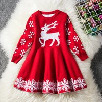roupas de natal venda por atacado-Crianças Desinger vestido do outono Meninas do Natal Vestido Elk floco de neve impressos tricô mangas compridas Vestidos Xmas saia Outfits Roupa 2 cores