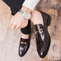 Wholesale brown dress shoes resale online - Men Formal Business Brogue Shoes Men s Crocodile Dress Shoes Male Casual Leather Wedding Party Loafers Plus Size